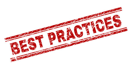 BEST PRACTICES seal print with grunge texture. Red vector rubber print of BEST PRACTICES caption with grunge texture. Text tag is placed between double parallel lines.