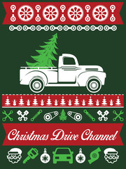 Classic Car Christmas Ugly Sweater