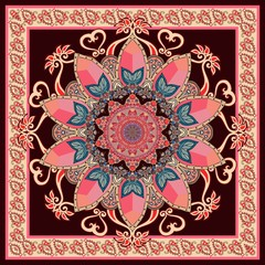 Tea box package, square rug or shawl with mandala flower and paisley border in indian style.