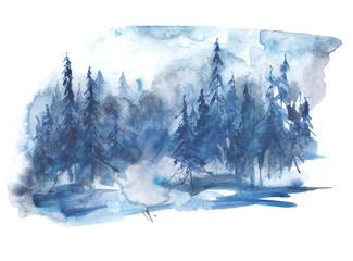 Watercolor winter landscape, picture. Picture of a pine forest, a blue silhouette of trees and bushes on a white isolated background.