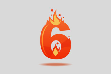 Number six with red flames and sparks