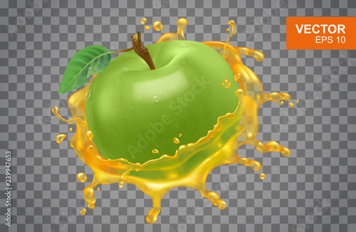 Realistic orange with spray of orange juice vector