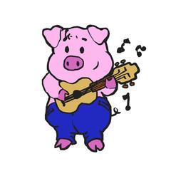 Pig farmer playing guitar