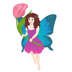 Vector illustration of little fairy girl