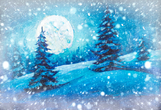 Winter snow background. Blurred snowflakes on Christmas fir pine trees in night forest wood with big moon Original oil painting, contemporary style, made on stretched canvas with palette knife