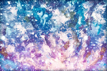 Winter snow background. Blurred snowflakes on Abstract texture backgroud Blue violet purple universe galaxy cosmos night sky art illustration artwork. Close-up fragment Oil painting on canvas