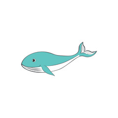 Cute cartoon blue whale, kid wild animal vector funny illustration isolated on white background, decorative fish, marine mammal for character design, mascot, zoo alphabet, children invitation, cards
