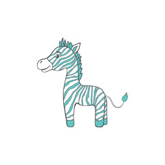 Cute cartoon zebra, kid wild animal, vector funny illustration mammal isolated on white background, decorative colorful horse for character design, mascot, zoo alphabet, greeting card, children invite