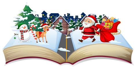 Open book christmas theme