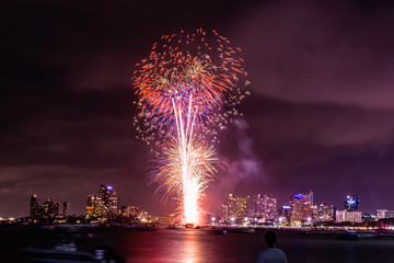 Beautiful fireworks shine on the sea with view of skyscrapers, Night sky with colorful fireworks above seascape, Pattaya, Thailand, Background for new year celebration with colorful fireworks 2019