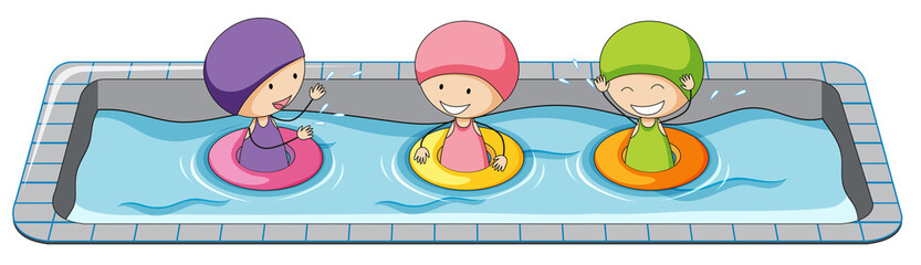 Doodle girls in swimming pool