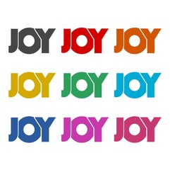 Joy word icon, sign, logo, color set