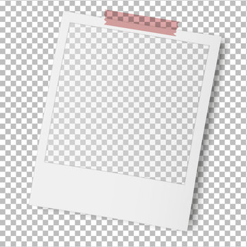 Old photo frame isolated on transparent background. Vector illustration.