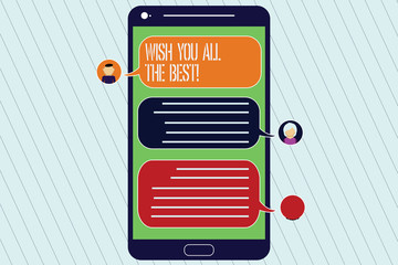 Handwriting text Wish You All The Best. Concept meaning Special wishes have a good fortune lucky life Mobile Messenger Screen with Chat Heads and Blank Color Speech Bubbles