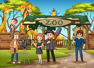 An outdoor interview at zoo