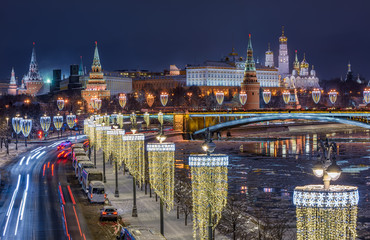 Wall Mural - Moscow Kremlin, embankment of Moscow River at night in Moscow, Russia. Architecture and landmark of Moscow
