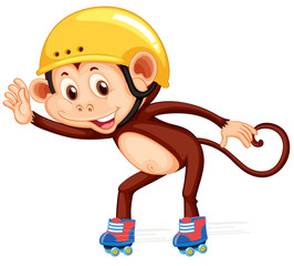 Monkey playig roller skate