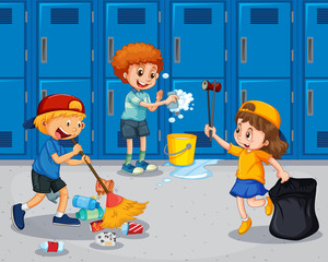 Student cleaning the hallway