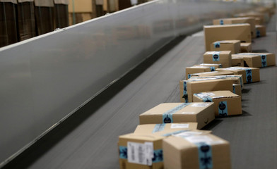 Packages are transported on a conveyor belt at the Amazon fulfillment center in the village of Dobroviz, near Prague