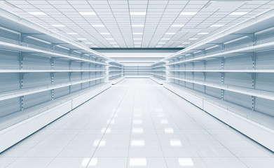 Shop interior with empty shelves. 3d illustration