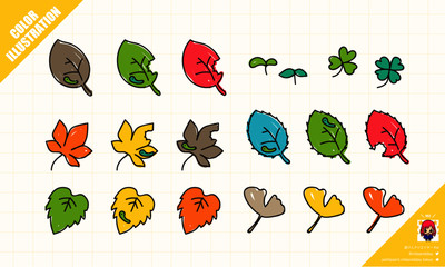 カラフルな葉っぱの手描きイラスト素材