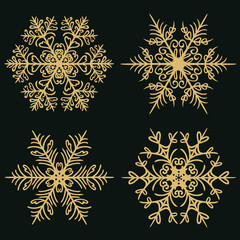 Set of winter snowflakes on a dark golden background. Vector illustration