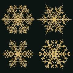 Set of winter snowflakes on a dark golden background. Vector illustration