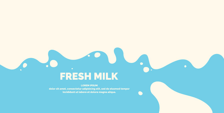 Modern poster fresh milk with splashes on a light blue background. Vector illustration