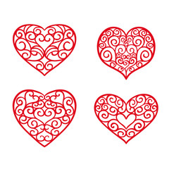 Set hand drawn hearts. Design elements for Valentine's day. Vector illustration