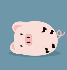 Cute Sleeping pink Pig vector