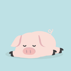 Cute pig  sleeping cartoon