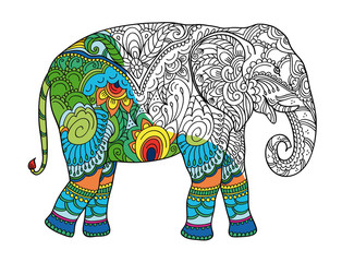 Drawing stylized elephant. Freehand sketch for adult anti stress coloring book for adultpage with doodle and zentangle elements. With sample coloring