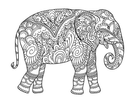 Drawing zentangle elephant, for coloring book for adult or other decorations. Black and white version illustration