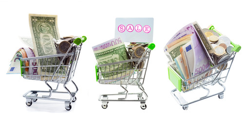 shopping cart set full of money for shopping and sale