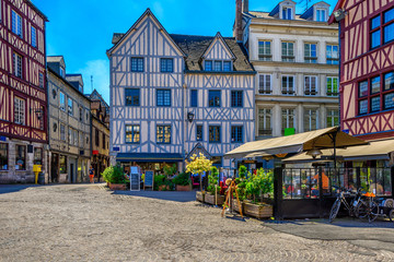 Cozy street with timber framing houses in Rouen, Normandy, France Fototapete