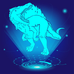 3D hologram of Spinosaurus. Vector illustration.