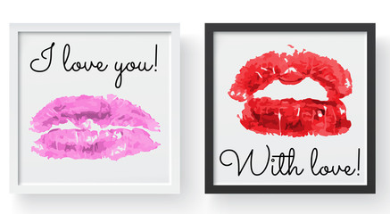 Lipstick kiss print. Female sexy red lips. Sexy lips makeup, kiss mouth, modern frame and place for text