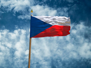 Czechia flag Silk waving flag of Czechia made transparent fabric with wooden flagpole gold spear on background sunny blue sky white smoke clouds real retro photo Countries of world 3d illustration