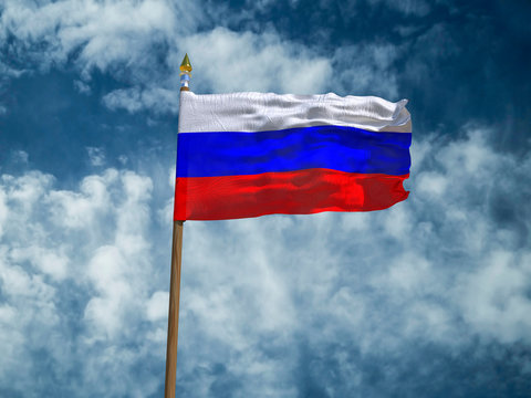 Russia flag Silk waving flag of Russia made transparent fabric with wooden flagpole gold spear on background sunny blue sky white smoke clouds real retro photo Countries of world 3d illustration