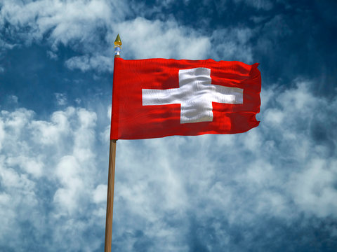 Switzerland flag Silk waving flag Switzerland made transparent fabric wooden flagpole gold spear on background sunny blue sky white smoke clouds real retro photo Countries of world 3d illustration