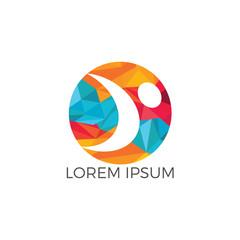 Abstract symbol happy human logo design. Sport fitness medical or health care center logo design concept.