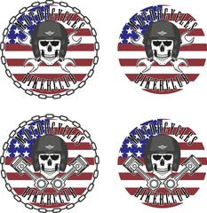 Skull in helmet pistons and keys. American flag and chain. Biker emblem.