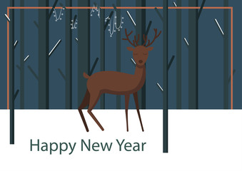 Winter night illustration with deer