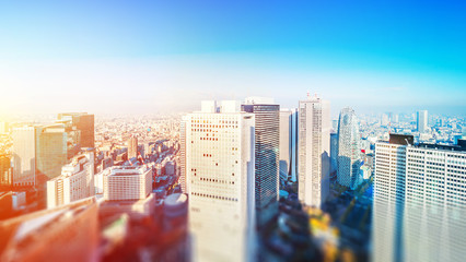 Wall Mural - tokyo skyline aerial view with tilt shift effect