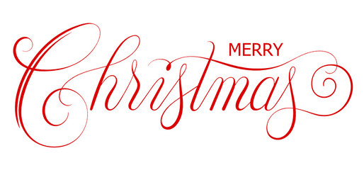 Wall Mural - MERRY CHRISTMAS red brush calligraphy banner