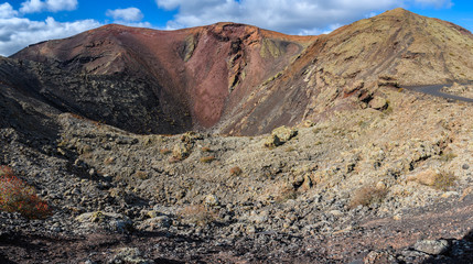 Red crater in Timanfaya National Park, Lanzarote, Spain