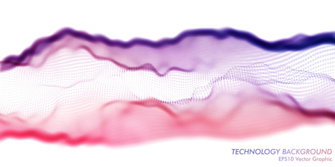 Fotoväggar - Colorful Pink and Violet Wavy Particle Surface