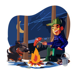 happy man camping with his dog in jungle night. best friend  forever or holiday concept- vector