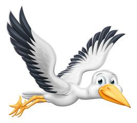 A stork or crane cartoon bird flying through the air