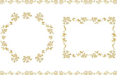 手描き 薔薇 ゴールド フレームセット